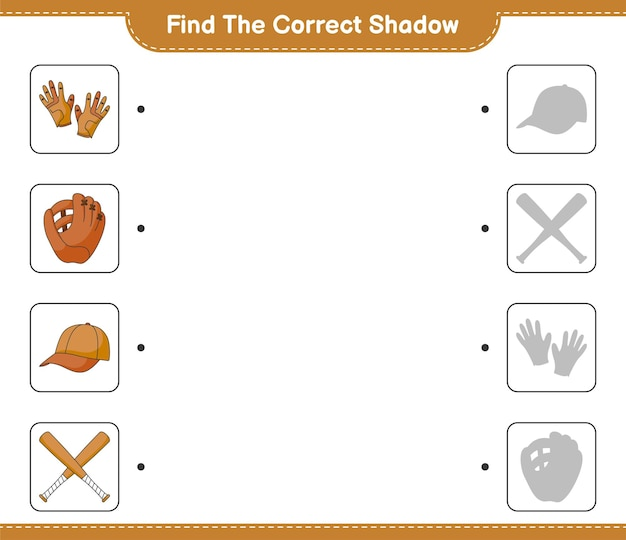 Find and match the correct shadow of baseball glove golf gloves cap hat and baseball bat