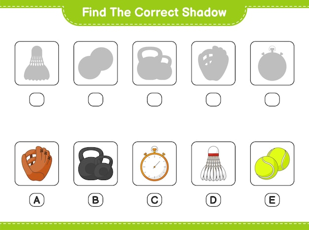 Find and match the correct shadow of baseball glove stopwatch ball dumbbell and shuttlecock
