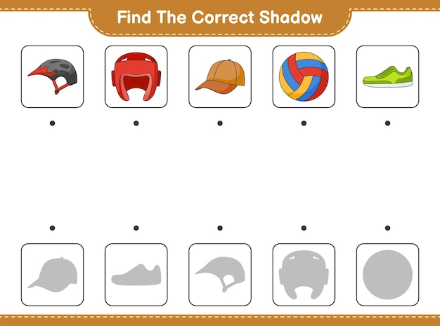 Find and match the correct shadow of bicycle helmet boxing gloves cap hat volleyball and sneaker