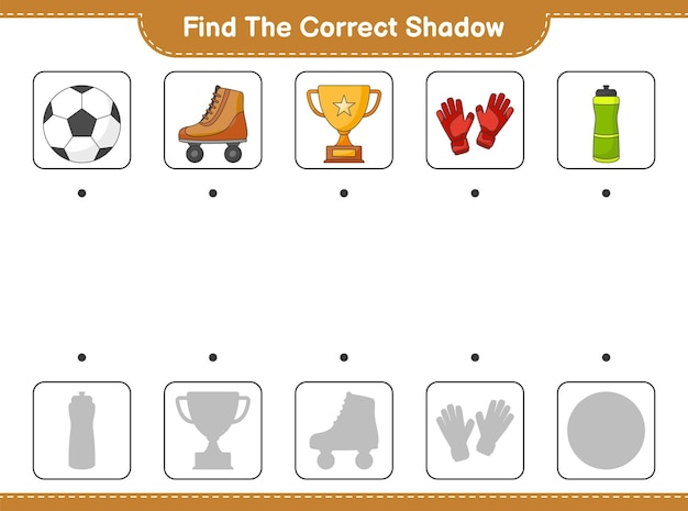 Find and match the correct shadow of bottle trophy soccer ball gloves and roller skate