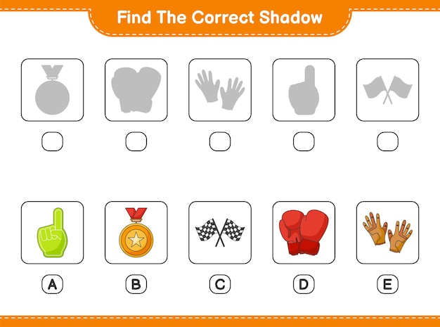 Find and match the correct shadow of foam finger trophy flags boxing gloves and golf gloves