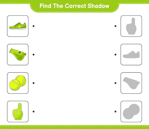 Find and match the correct shadow of foam finger whistle tennis ball and sneaker