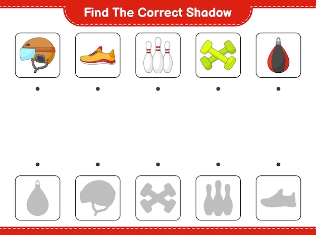Find and match the correct shadow of hockey helmet shoes bowling pin dumbbell and punching bag