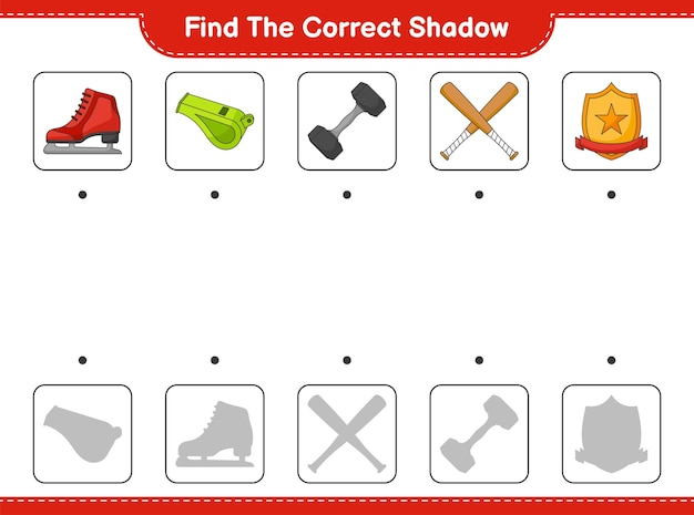 Find and match the correct shadow of ice skates whistle dumbbell baseball bat and trophy