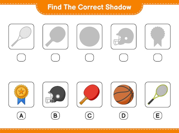 Find and match the correct shadow of ping pong racket basketball trophy helmet and tennis racket