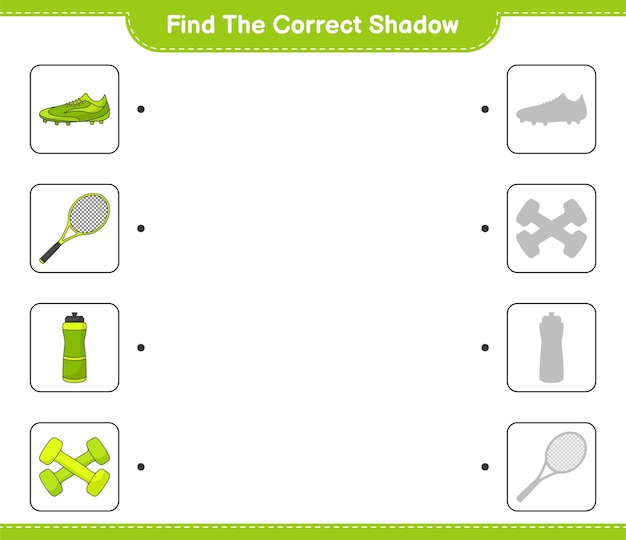 Find and match the correct shadow of water bottle tennis racket soccer shoes and dumbbell