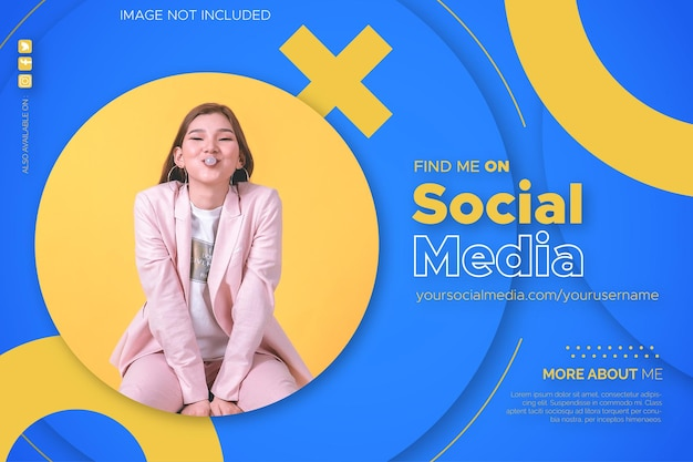 Find me on social media banner background with circle design