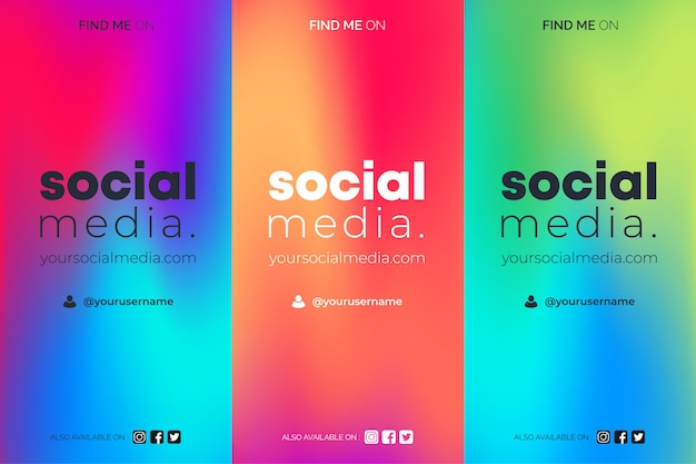 Find me on social media gradient insta stories templates set