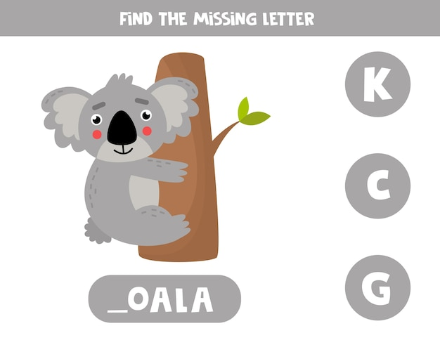 Найдите пропавшую букву. развивающая орфографическая игра для детей. иллюстрация милой серой коалы. практика английского алфавита. рабочий лист для печати.