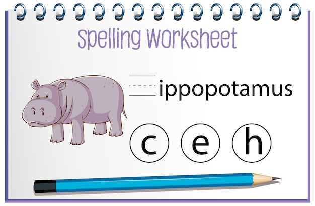 Find missing letter with hippopotamus