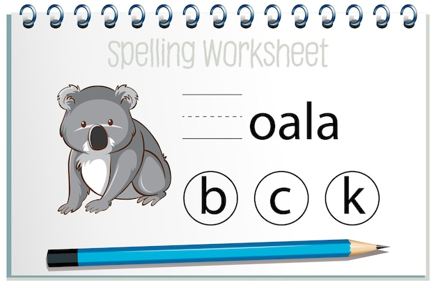 Find missing letter with koala
