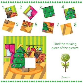 Find missing piece - puzzle game for children happy new year card. cartoon cock with tree. rooster. vector illustration.