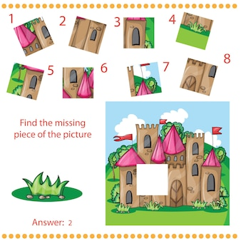Find missing piece - puzzle game for children with cartoon castle