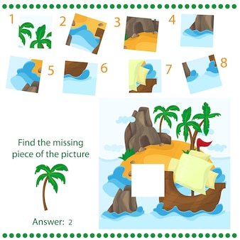 Find missing piece - puzzle game for children - with tropical island and ship