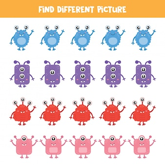 Find monster which is different from others. logical game for kids.