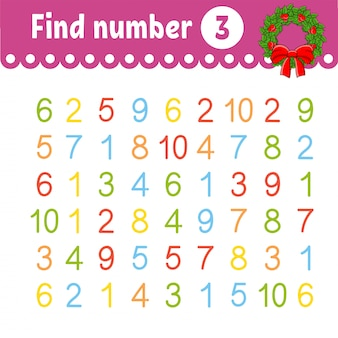 Find number. education developing worksheet. activity page with pictures. game for children.