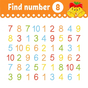 Find number. education developing worksheet. activity page with pictures.