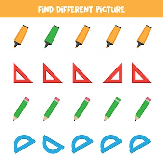 Find object which is different from others. stationery for office. logical game for kids.