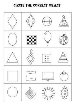 Find the object which matches with the shape. learning geometrical shapes.