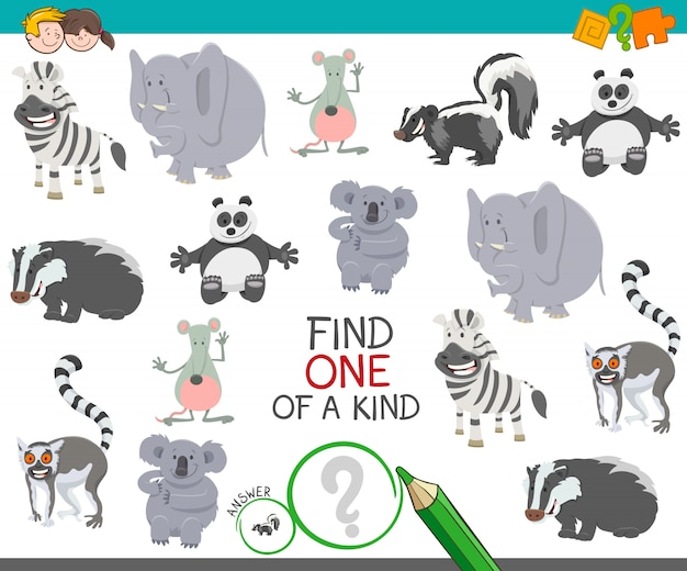 Find one of a kind animal educational activity game