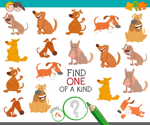 Find one of a kind educational game with dogs