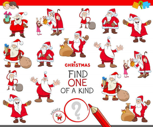 Find one of a kind educational game with santa