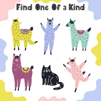Find one of a kind game for kids. puzzle for toddlers with funny llamas and a cat. activity page template.