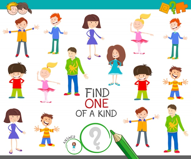 Find one of a kind picture educational game with kids