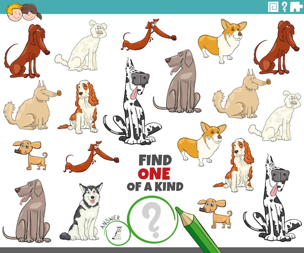 Find one of a kind picture educational game with purebred dogs comic characters