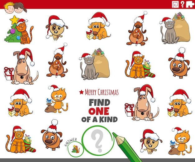 크리스마스 시간에 애완 동물 캐릭터와 함께 종류의 게임 중 하나를 찾으십시오.