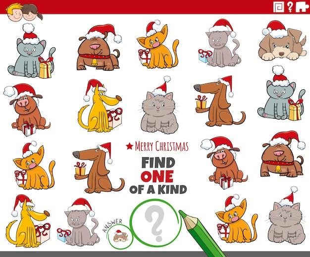 크리스마스 시간에 애완 동물 캐릭터와 함께 친절한 그림 교육 활동 중 하나를 찾으십시오.