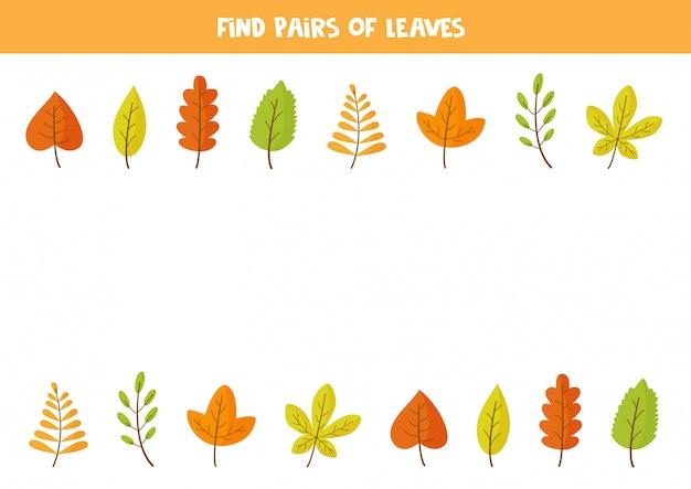 Найдите по паре каждого осеннего листа. игра для детей,