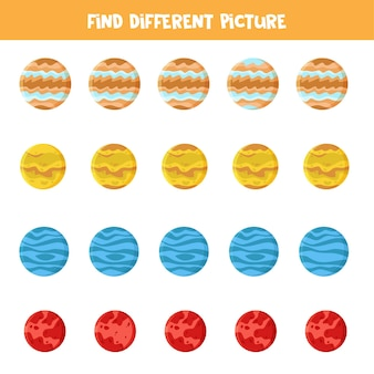 Find picture which is different in each row. game with planets of solar system.