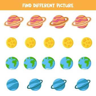 각 행에서 다른 그림을 찾으십시오. 태양계 행성과 게임.