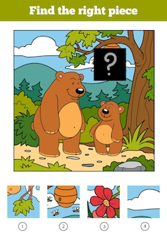 Find the right piece, jigsaw puzzle game for children. bears and background