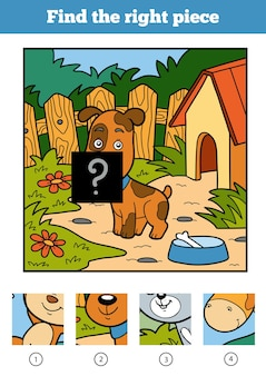 Find the right piece, jigsaw puzzle game for children. dog and background