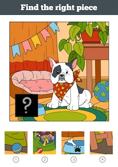 Find the right piece, jigsaw puzzle game for children. little dog and background