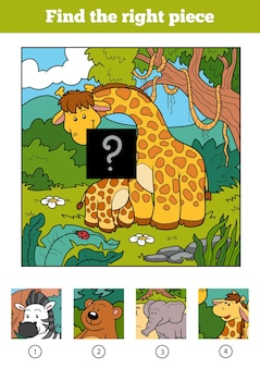 Find the right piece, jigsaw puzzle game for children. two giraffe and background
