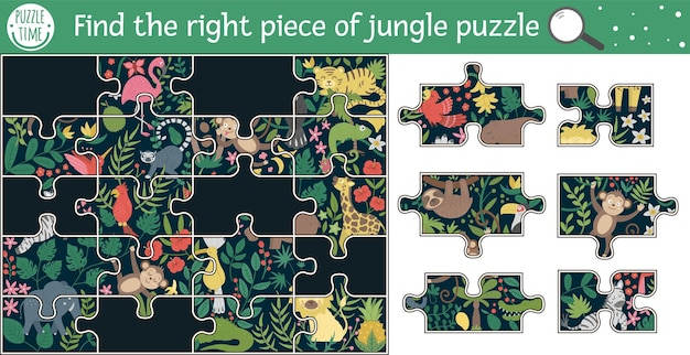 Find the right piece of jungle puzzle.   summer cut and glue or sticker activity for children. tropical educational crafting game with cute animal characters.