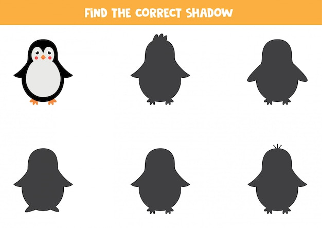 Find the right shadow of cartoon penguin. logical game for children.