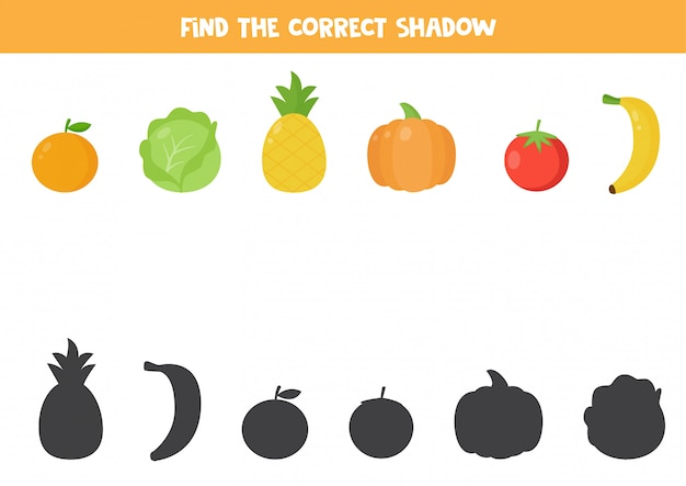 Find the right shadow of cartoon vegetables and fruits