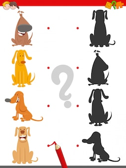 Find the right shadow educational task with dogs