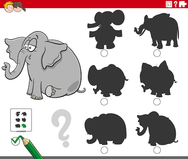 Find the right shadow game for children with cartoon elephant