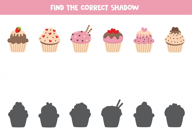 Find the right shadow of lovely cartoon cupcakes.