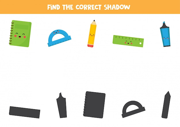 Find the right shadow of school stationery.