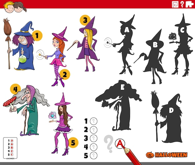 Find the right shadows game with cartoon witches halloween characters