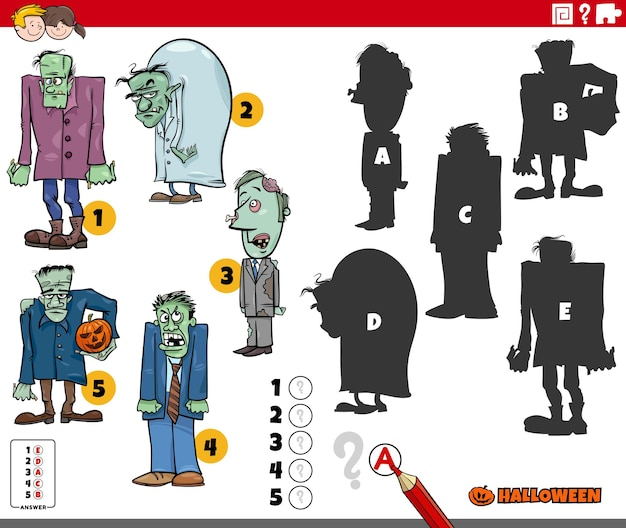 Find the right shadows game with cartoon zombies halloween characters