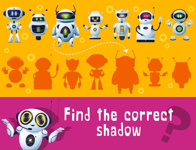 Find robot shadow, game for kids, tabletop or board game