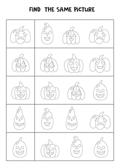 Find the same picture of black and white halloween pumpkins. educational worksheet for kids.