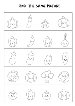 Find the same picture of black and white vegetables. educational worksheet for kids.